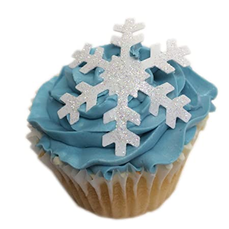 Frozen Parties 100 PRECUT Pale Blue Snowflakes Edible Wafer Paper Cake Toppers Decorations in 2 sizes