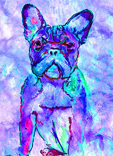 French Bulldog Wall Art, Blue Turquoise, Aquamarine Frenchie,