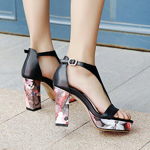 YE Womens High Block Heels T-Strap Court Shoes Open Toe Summer Ankle Strap Party Shoes Black DPMwD0W2