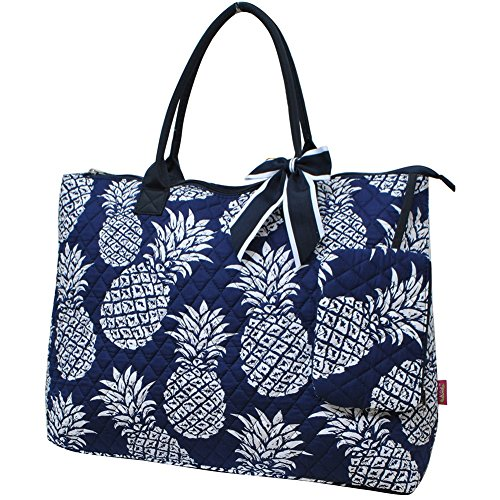 Southern Pineapple Print NGIL Quilted Overnight Tote - Large Print Pineapple