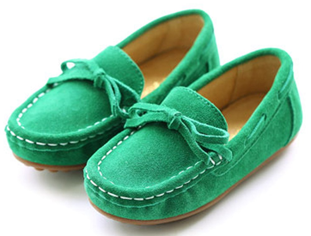 VECJUNIA Girls Soft Suede Bow Dress Loafers Indoor Slippers Oxford Moccasins Green 13 M US Little Kid by VECJUNIA (Image #7)