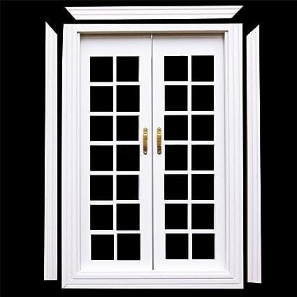 Amazon 112 Dollhouse Miniature Exterior Wooden French Door Diy