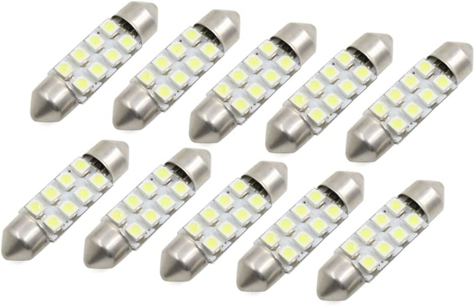 sourcing map 10Pc 37mm SMD Blanc Froid 3528 Lampe D/ôme Festoon Lampe Int pour Voiture