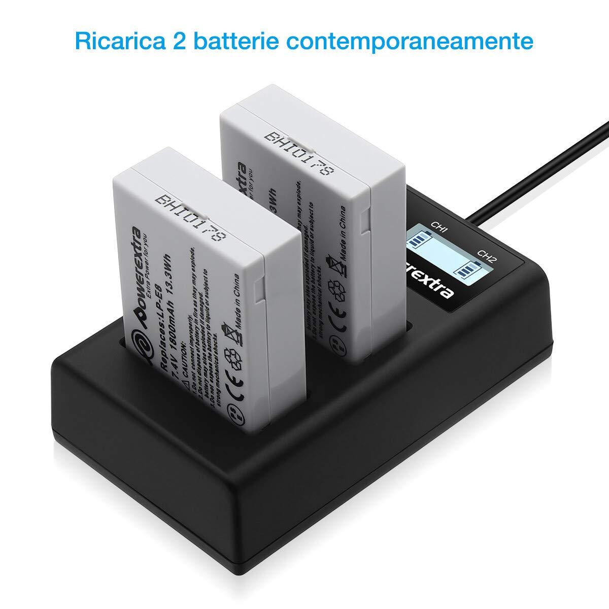 Powerextra Batteria LP-E17 1350mAh con caricatore Display LCD per Canon LP E17 Canon EOS Rebel T6i Rebel T6 Rebel T7i 750D 760D 8000D Kiss X8i 800D 77D 200D EOS SL2 EOS M3 EOS M6 EOS