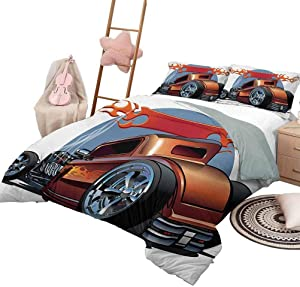 DayDayFun Quilt Set with Sheets Cars Bedspread Bed Cover for All Season Cartoon Hot Rod Antique Customized Classical American Engine Nostalgia Revival Queen Size Orange Blue Black