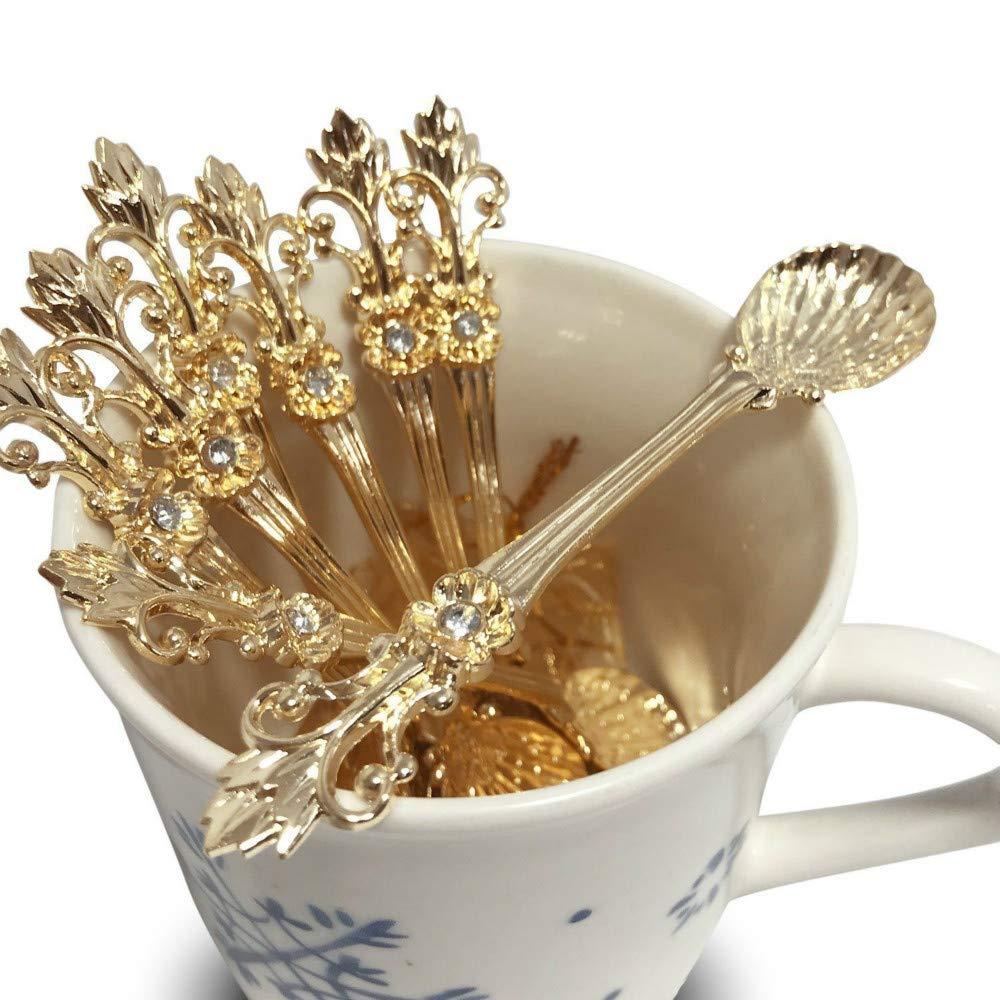 (Gold) - LINFON 8Pack Mini Spoons Set Gold Vintage Orris Pattern Carved Coffee Tea Spoon Mini Ice Cream Scoop   B07BXXR6K6