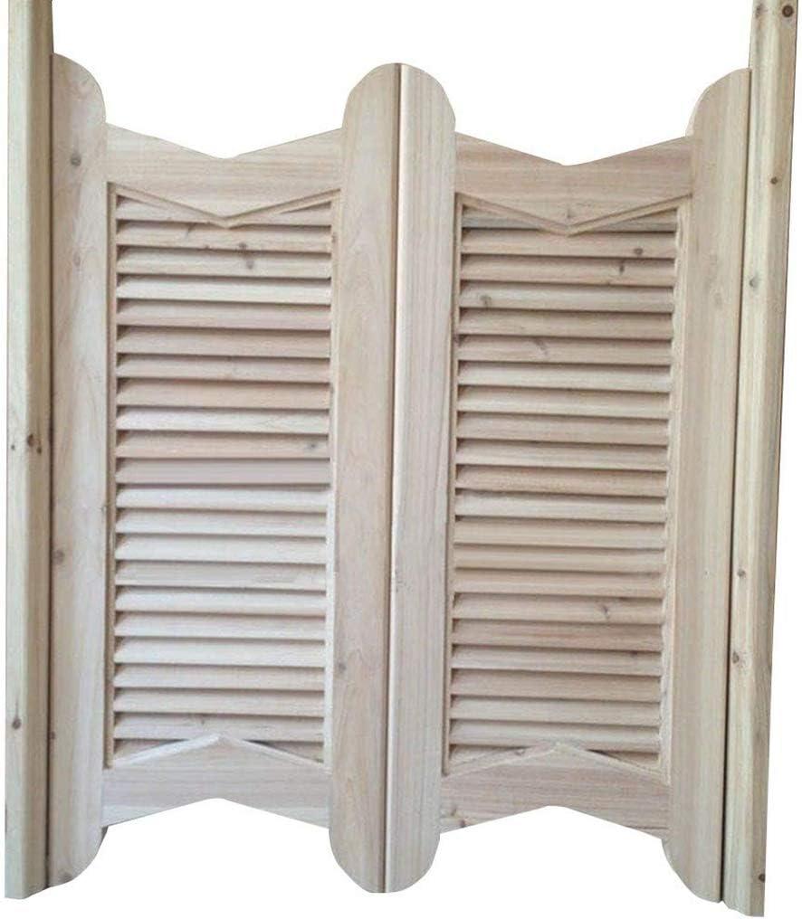 Puertas batientes inacabadas Puertas de café, puerta de resorte de madera maciza Puerta de persiana divisoria con cierre automático, estilo americano, sin pintura - personalizable