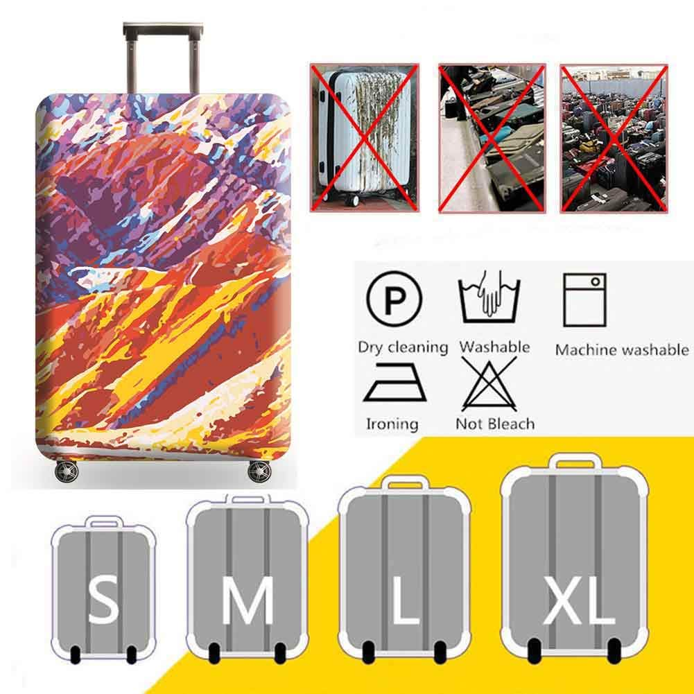 Travel Trolley Case,Sunset,M HBWZ Oil Painting Print Design Elasticated Suitcase Luggage Cover Suitable for 18-32in Luggage