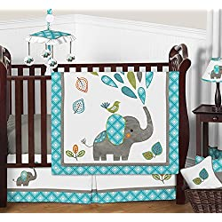 Turquoise Blue Gray and White Mod Elephant Boy Baby Bedding 11 Piece Crib Set Without Bumper