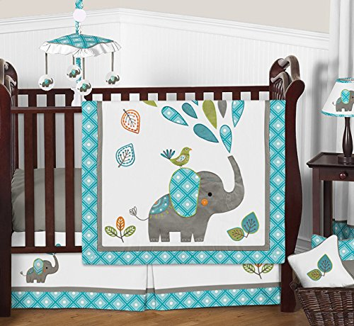 1-Piece Turquoise Blue Gray and White Mod Elephant Girl or Boy Baby Bedding Crib Set Without Bumper ()