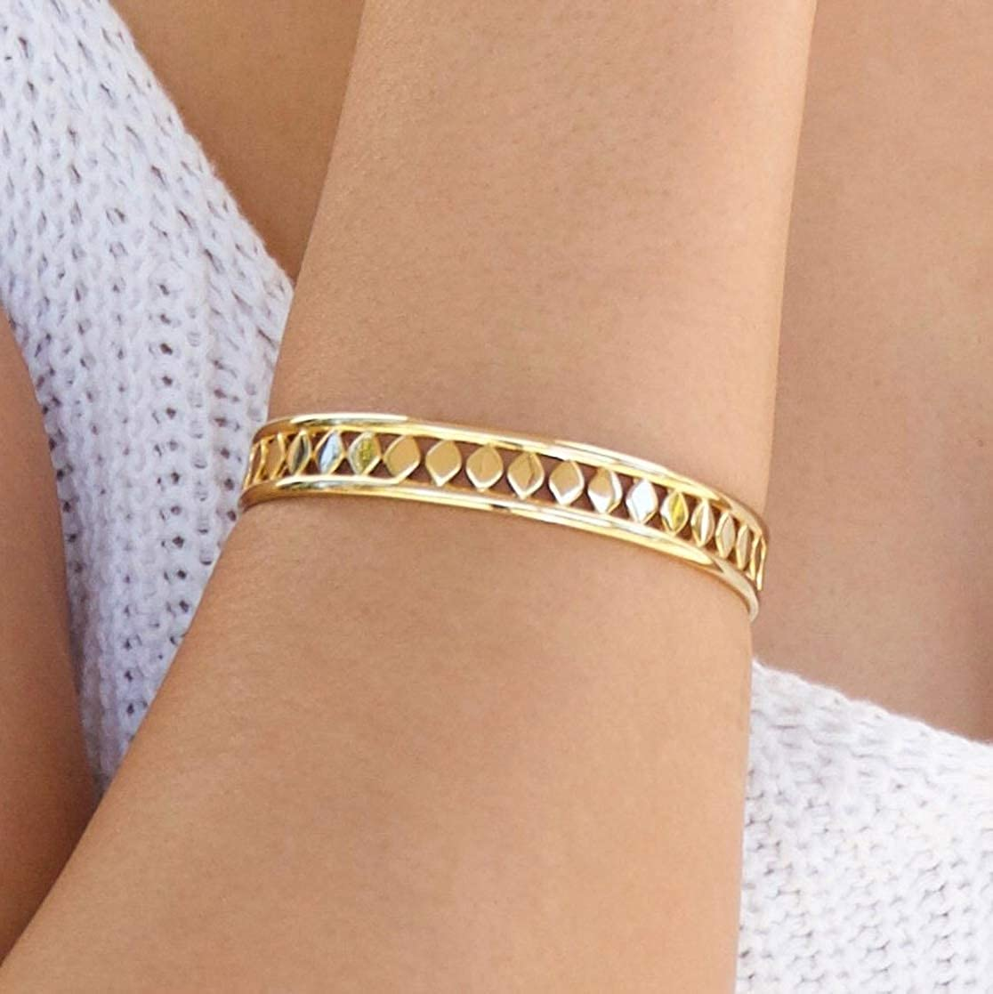 14K Gold Plated Stylish Cuff Bracelet Features Diamond Shaped Etchings That Shimmer and Shine. Jules Smith Aida Gold Cuff for Women or Girls