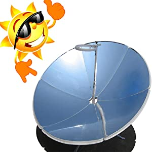 GDAE10 Portable Solar Cooker, Premium 1800W 1.5m Diameter Camping Outdoor Solar Cooker for Solar Heating, Visual Education or DIY Solar Concentrator