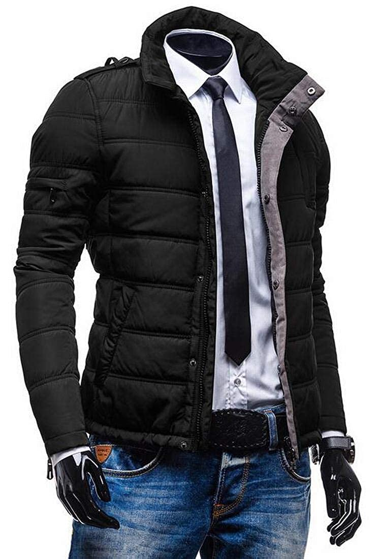 XTX Mens Thicken Stand Collar Full Zip Slim Thermal Quilted Jacket Coat Outerwear