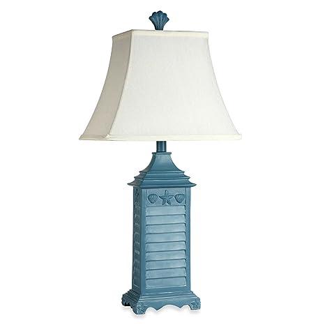 Coastal Shutter Table Lamp W/ Decorative Starfish U0026 Shell Motif (Blue)