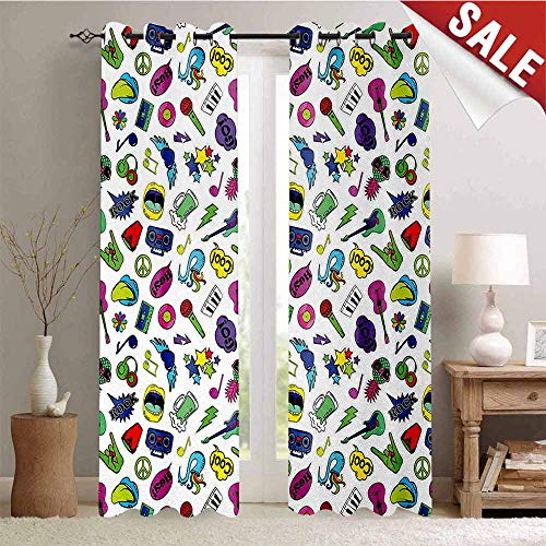 Emoji Thermal Insulating Blackout Curtain Colorful Fun Music Themed Pattern with Instruments Cassettes Boombox Hand Gestures Blackout Draperies for Bedroom W84 x L96 Inch ()