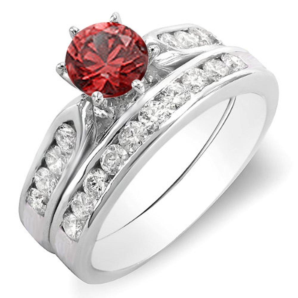 14K White Gold Round Ruby & White Diamond Ladies Bridal Engagement Ring Set (Size 5)