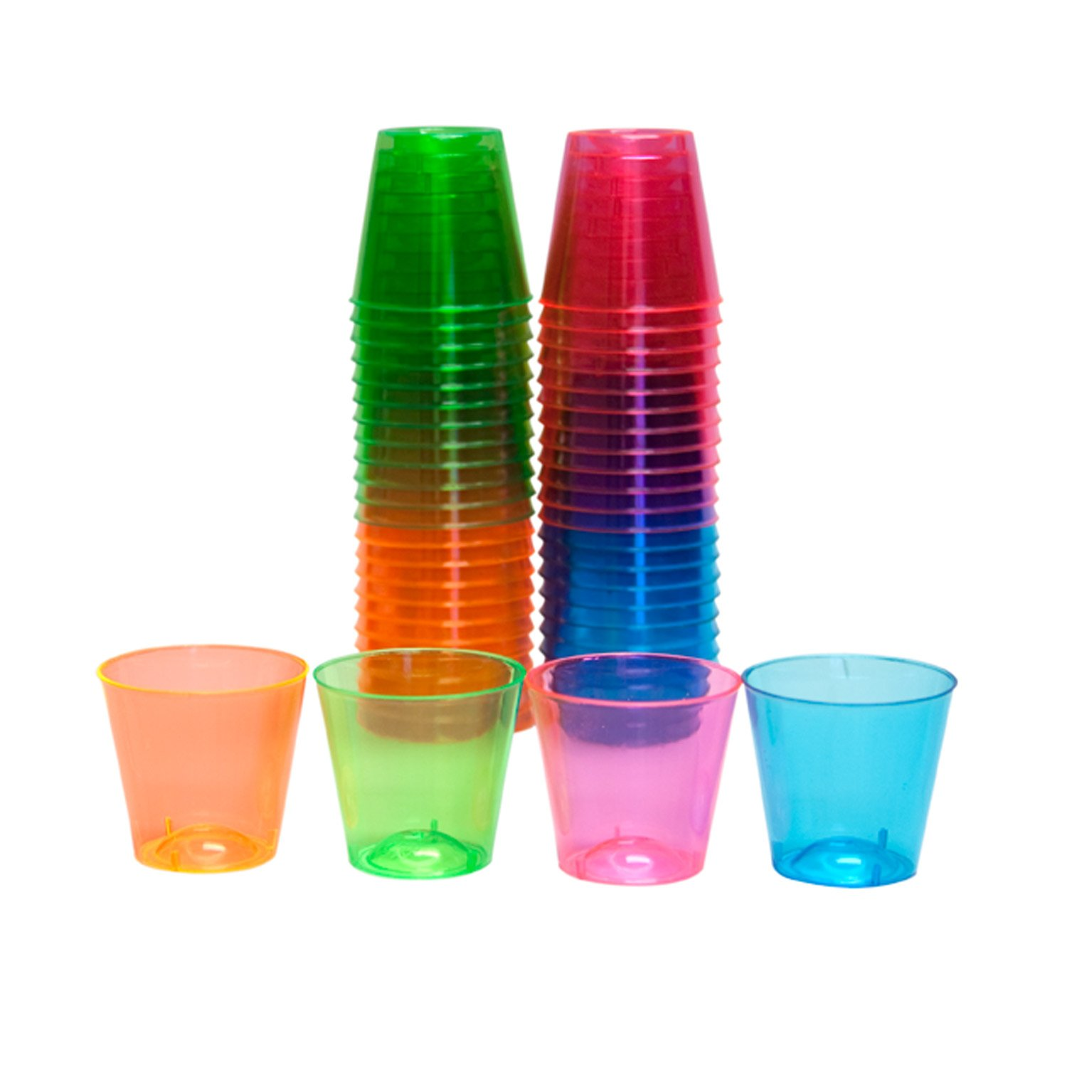 Party Essentials N15090 Brights Hard Plastic Shot Glass, 1 oz. Capacity, Assorted Neon Pink/Green/Blue/Orange (Case of 1000)