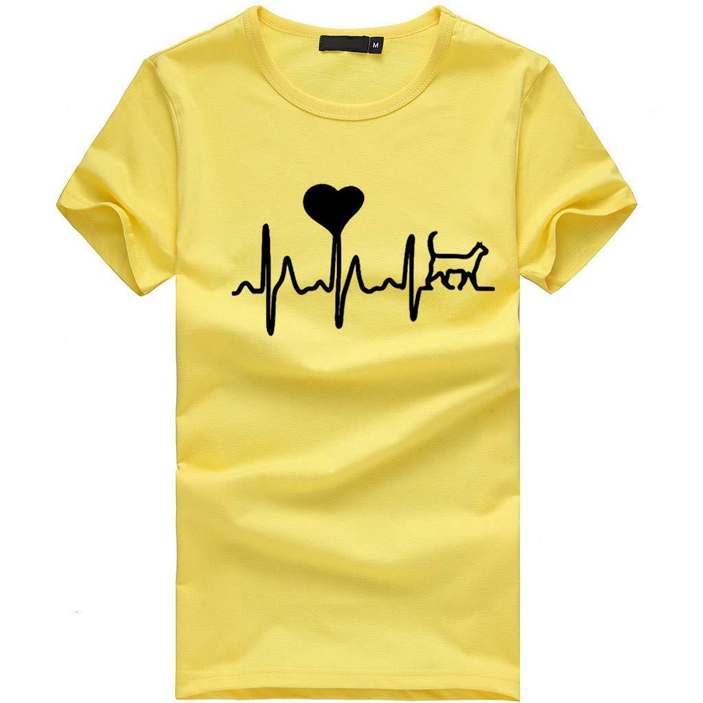Women Short Sleeve T-Shirt Crewneck Heart Print Tee Casual Solid Tees Blouse Tunic Tops (S, Yellow)
