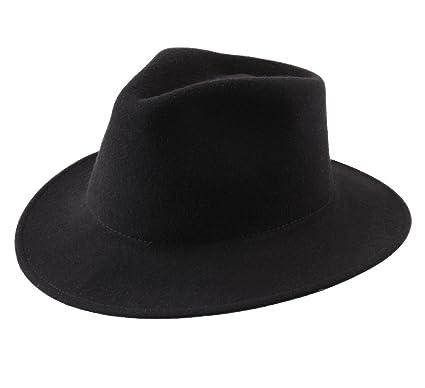 0691d525a8e56 Classic Italy Men s Nude Traveller Teardrop Wool Felt Fedora Hat Packable  Size 54 cm Black