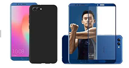 new arrival 8b725 3dd5e Honor View10,Honor V10 Cover Accessory Combo(1 Shockproof Back Cover With  Premium HD Tempered(Blue))By BestTalk (Matte Tpu Case, Black)