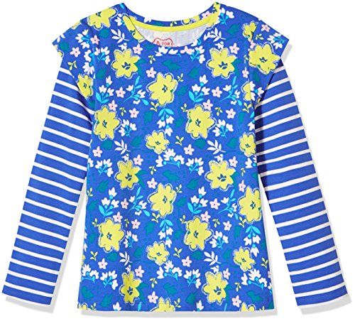 A for Awesome Long Cap Sleeve Tee Medium Ellis Blue Floral