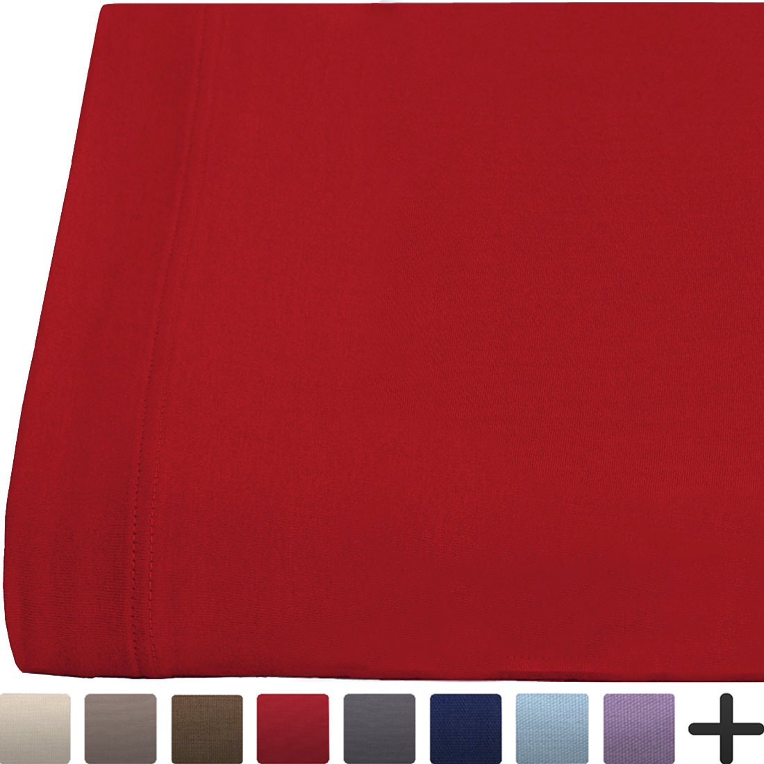 Flat Top Sheet Super Soft Jersey Knit Cotton - All Season Bed Sheets - Cozy - Breathable - Easy Care (Twin XL, Red)