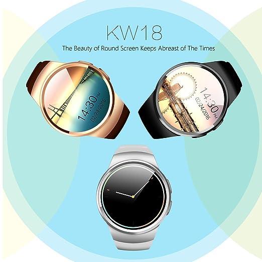 Teléfono con Bluetooth Smart Watch King-Wear KW18 Tarjeta SIM con TF SmartWatch con frecuencia cardíaca (Color: Negro): Amazon.es: Electrónica