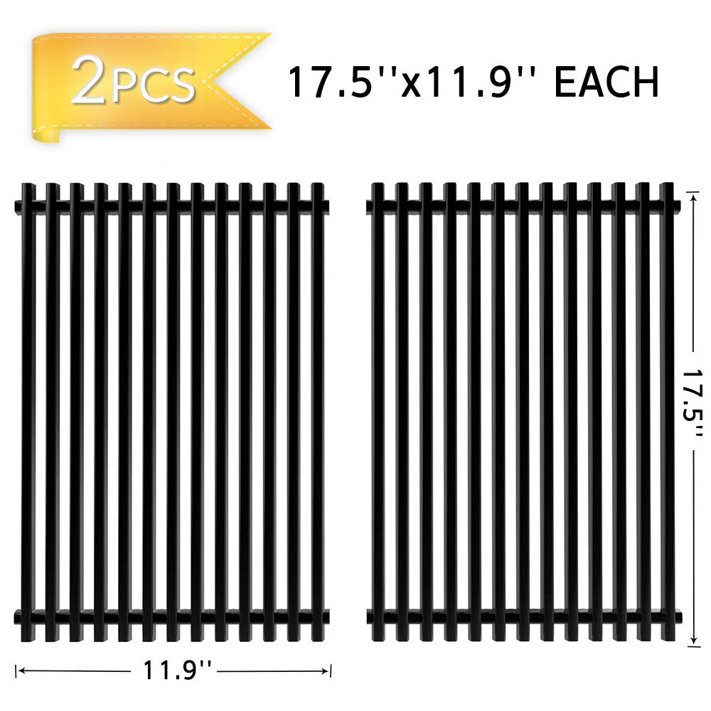 X Home 7638 17.5 Inches Replacement for Weber Spirit E310 Grill Grates, Genesis Silver B/C, Gold B/C, Genesis 1000 Grates, 2pk Porcelain Steel Cooking Grates for Weber Spirit 300 & 310 Series Grills by X Home