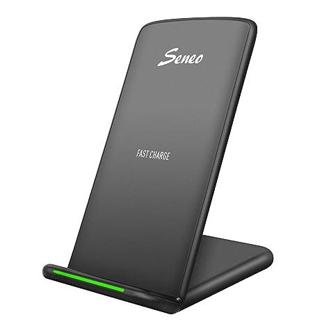 Seneo Qi Cargador Inalámbrico, Carga Inalámbrico Soporte, para iPhone XS/XR/XS MAX/X/8/8Plus,Samsung Galaxy S8,S8 Plus,Samsung Galaxy S7,S6+,