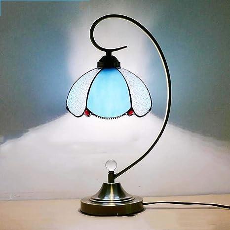 Lámpara de mesa de vidrio de color Tiffany, lámpara de noche ...
