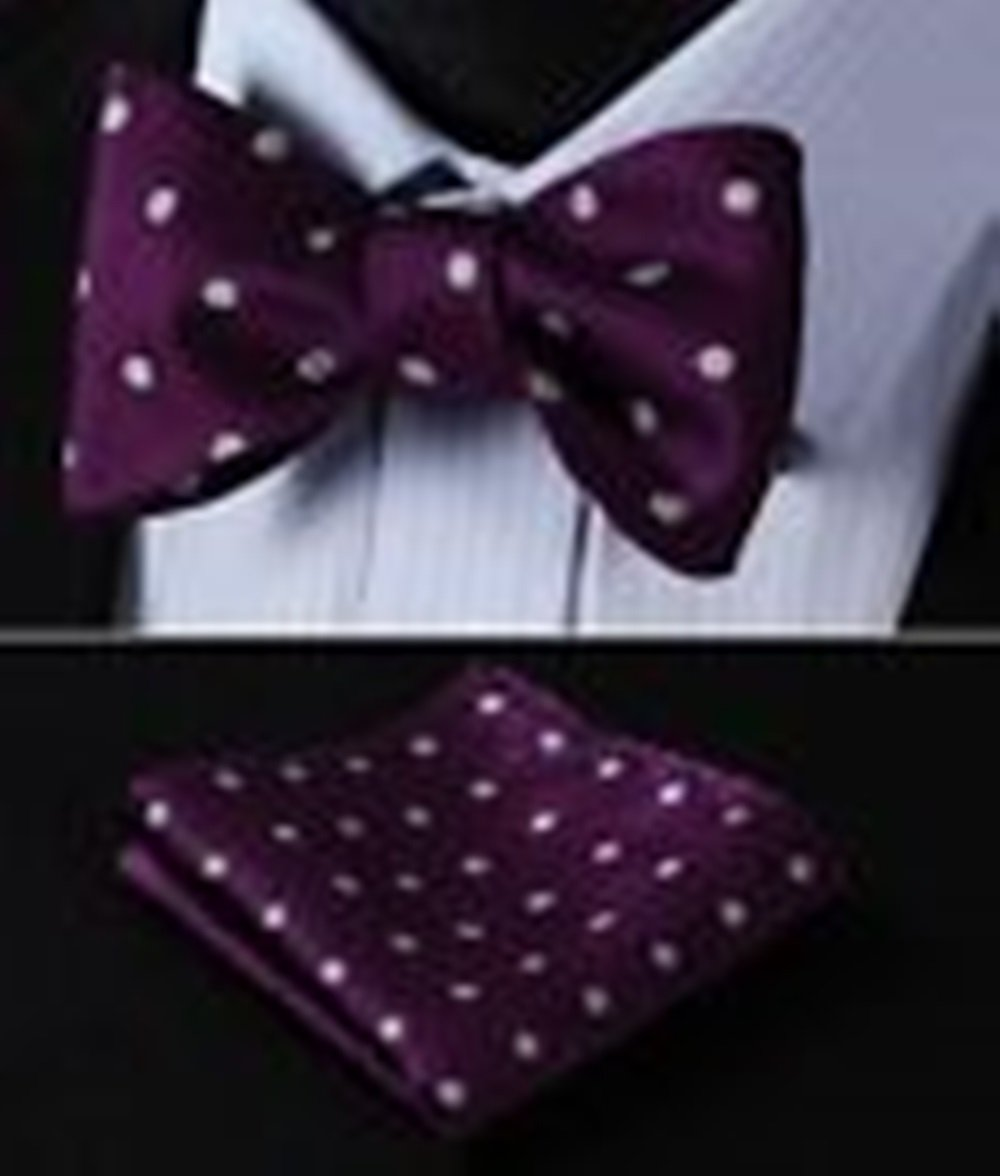 Mondaily DL2012R Violet Polka Dot Men Woven Silk Self Bow Tie Pocket Square Set #PPTE4740