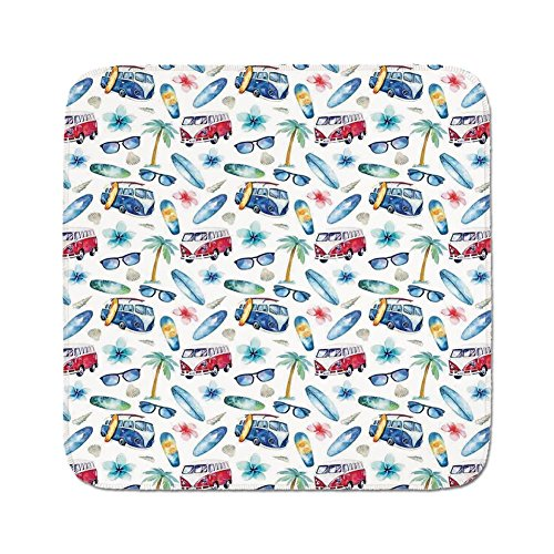 (Cozy Seat Protector Pads Cushion Area Rug,Surf Decor,Ocean Sunglasses Van Surfing Board Palm Trees Tropical Flower Summer Seaside Theme,Navy Red Green,Easy to Use on Any Surface)