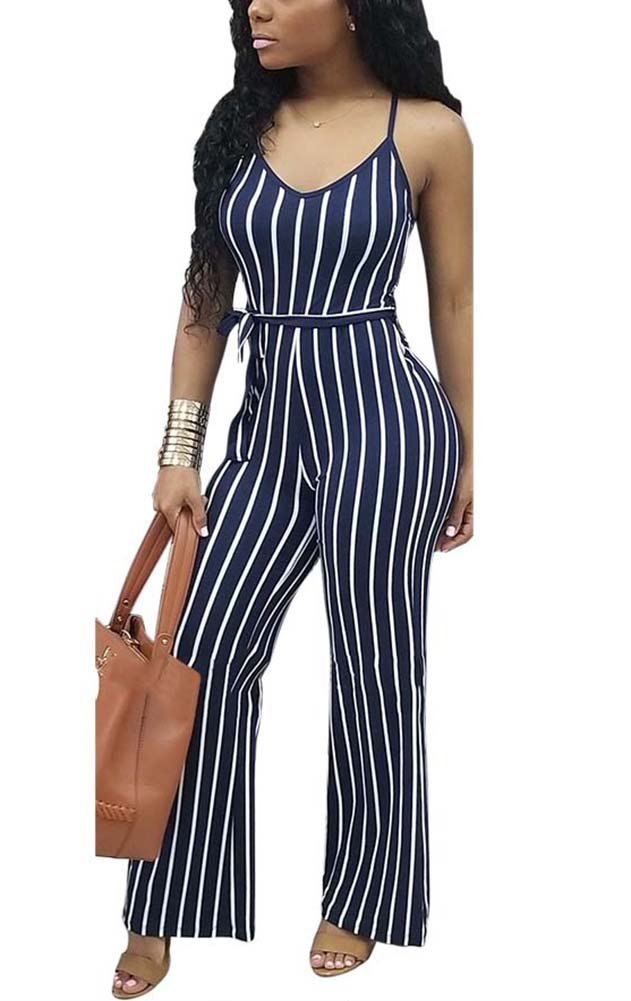 Deloreva Women Striped Romper and Jumpsuit - Summer Long Wide Leg Pants Spaghetti Strap Playsuit Overalls Blue S