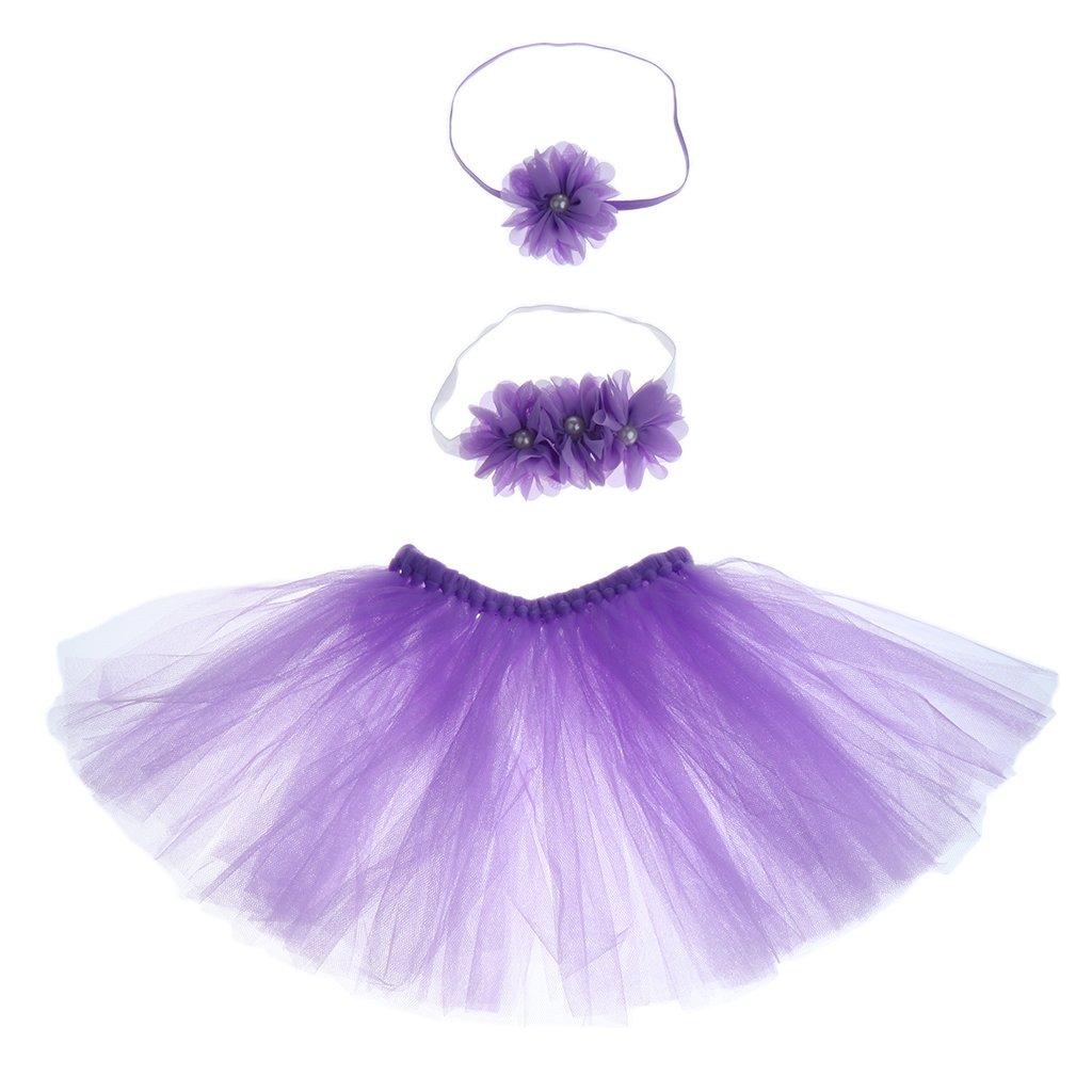 as described purple Cute Newborn Baby Tutu Clothe Skirt Girl Headdress Flower Photo Prop Outfits Set