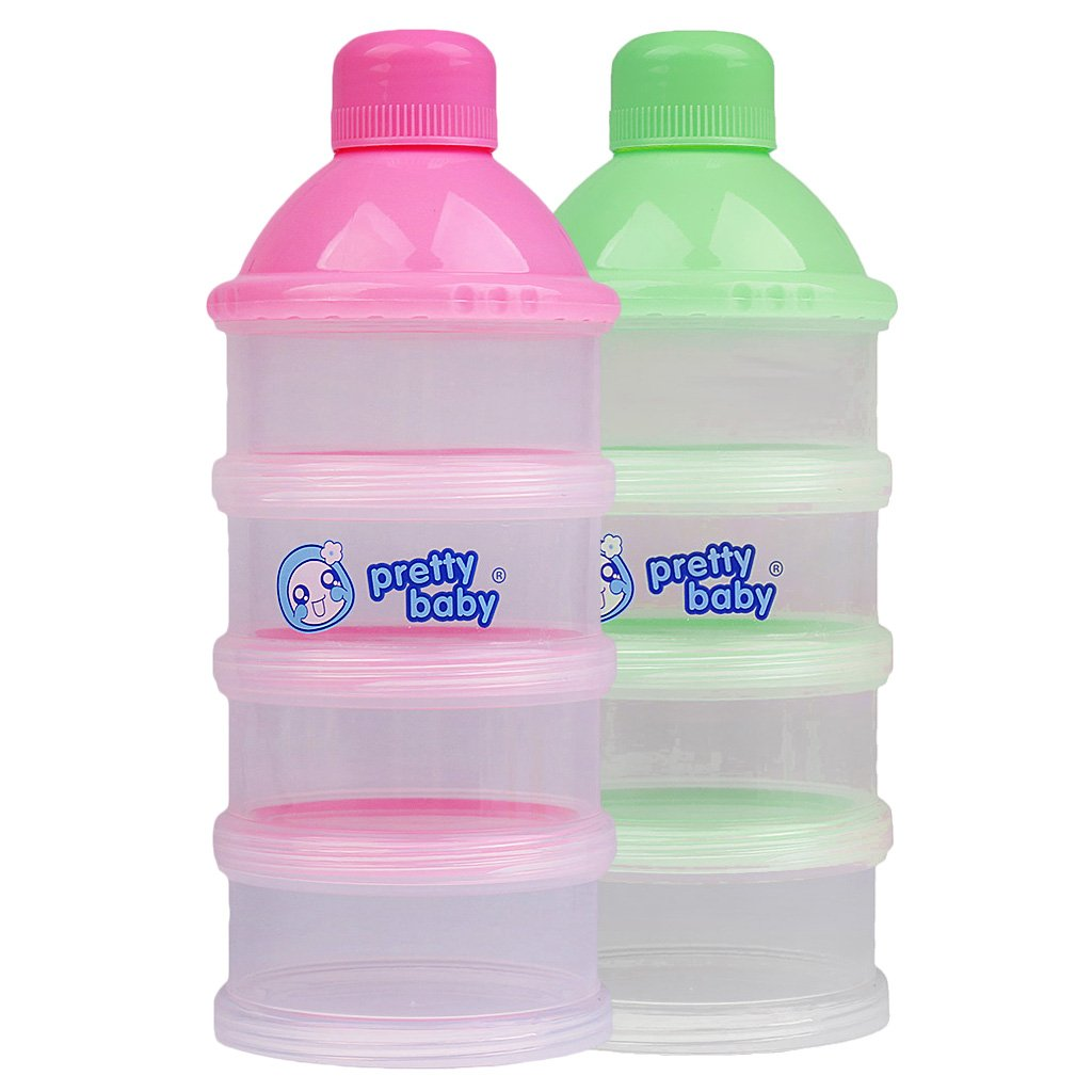 MagiDeal 2Pack Baby Stackable Formula Dispenser& Snack Containers 4 Layers Non-Spill 2Colors