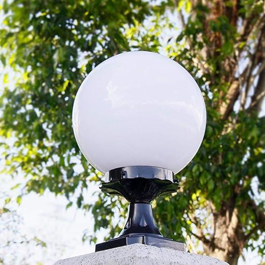 Lámparas de columna Luz de pedestal para exteriores pilar de bola redonda IP44 Luces pedestal de aleación de aluminio Luces camino negras Blanco E27 Acrílico impermeable Jardín Patio Estanques φ35CM: Amazon.es: Iluminación