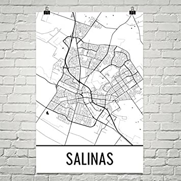 Modern Map Art Imprimir mapa de Salinas Salinas, Salinas ...