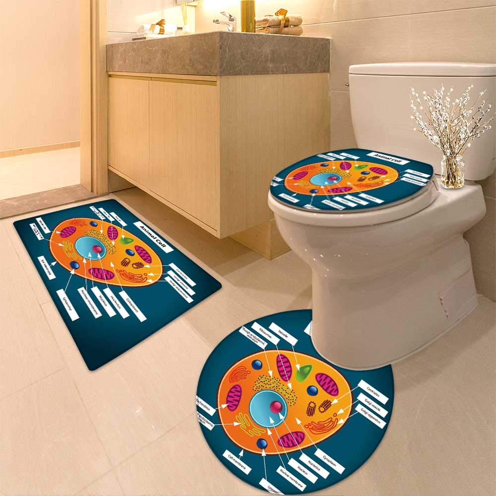 HuaWuhome 3 Piece Toilet mat Set Color of Animal Cell Printed