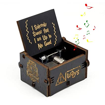 Leegoal Hedwigs Theme Hary Poter Music Box, Antique Carved Wooden Hand Crank Musical Boxes for
