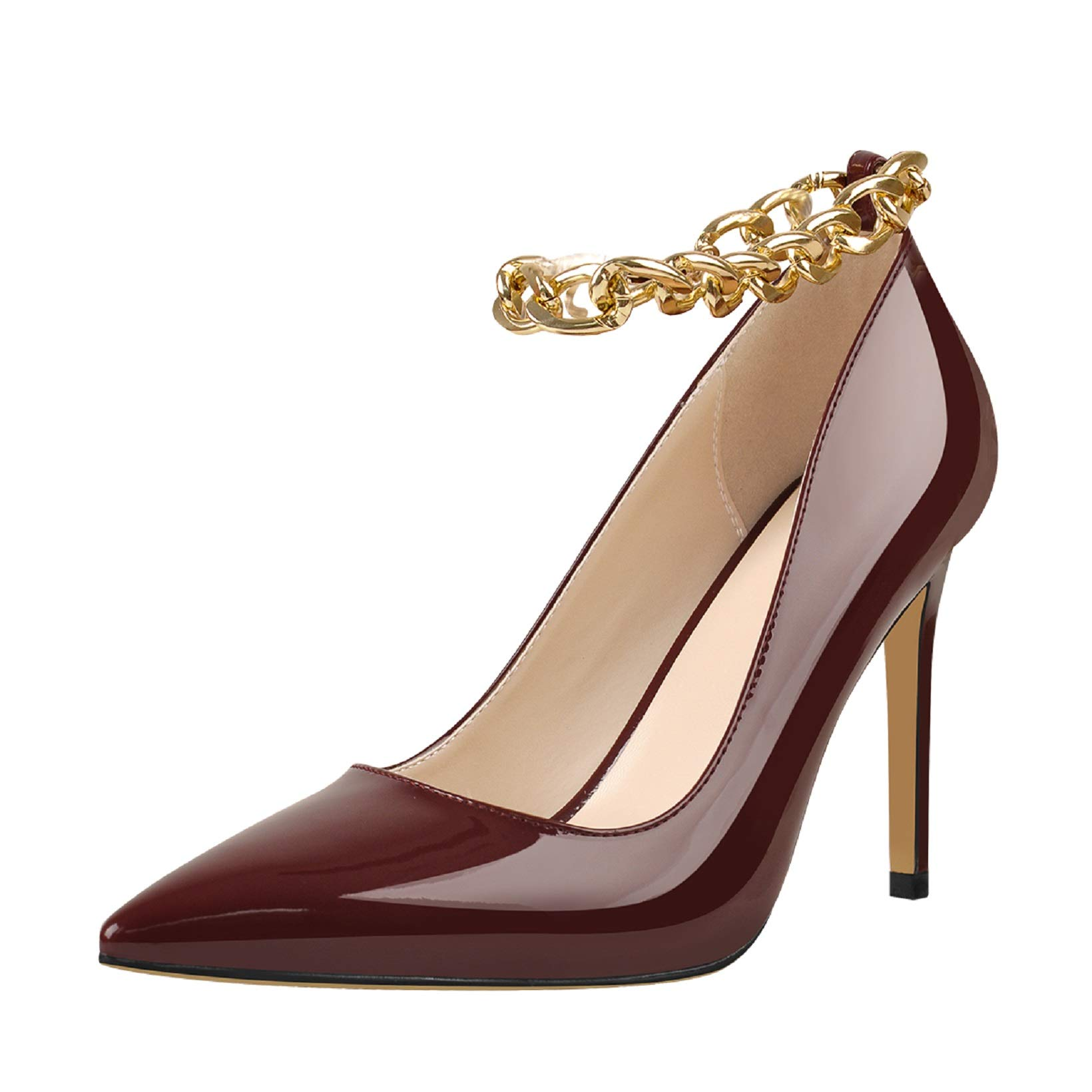 Yolkomo Womens Pumps Pointy Toe High Heels Metal Chain Pumps for Women