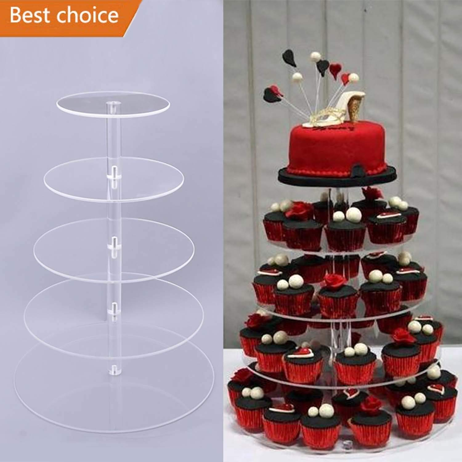 Acazon 5 Tier Round Clear Acrylic Cupcake Stand Wedding Display Cake Dessert Tower for Birthday Wedding Party [US STOCK] (5 Tier)