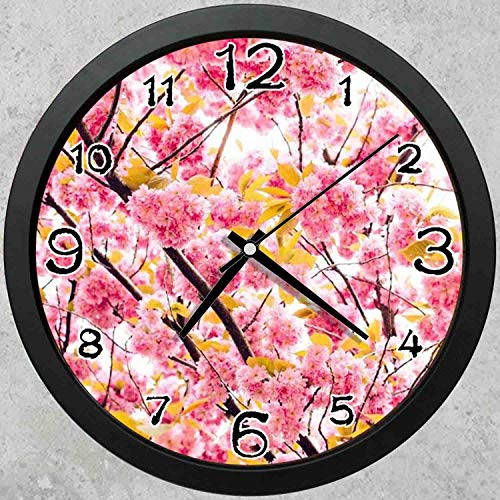 (47BuyZHJX 10-inch Round Decorative Wall Clock (Black),Backdrop Pattern - Cherry Blossom Petals Pink Spring,Home School Office Wall Clock.)