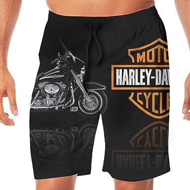 032bf2fd6d Amazon.com: REBELN Men's Harley Davidson Logo Mens Summer Swim Trunks Quick  Dry Funny Beach Board Shorts Casual Pants Printing: Clothing