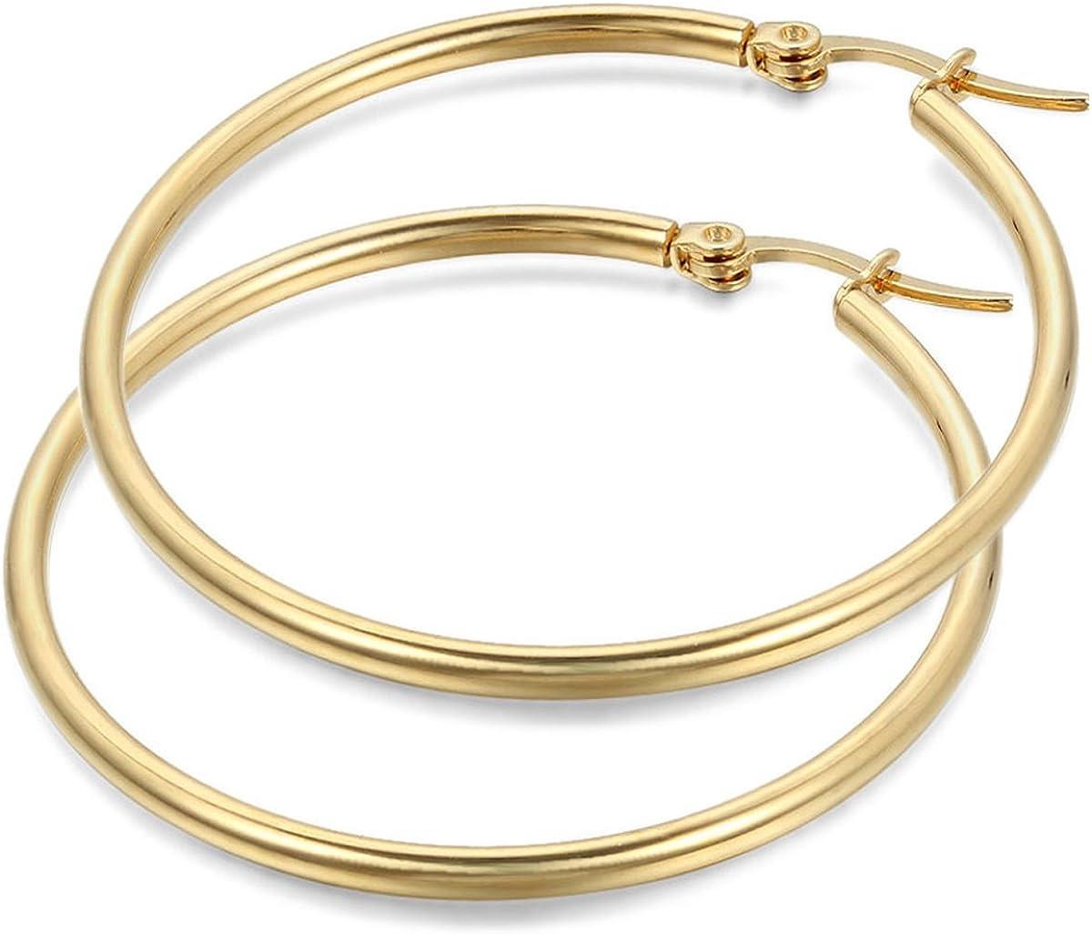 JewelryWe Pendientes de Aros Grande Circulos Huggies, Acero Inoxidable Pendientes de Mujer Dorados, Retro Vintage Pendientes Grandes Diseño Elegante de 6 Tamaños