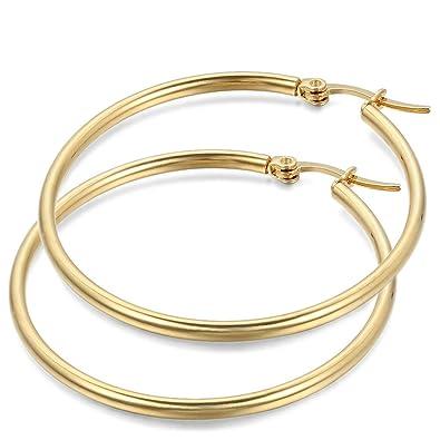 JewelryWe Pendientes de Aros Grande Circulos Huggies, Acero Inoxidable Pendientes de Mujer Dorados, Retro Vintage Pendientes Grandes Diseño Elegante ...