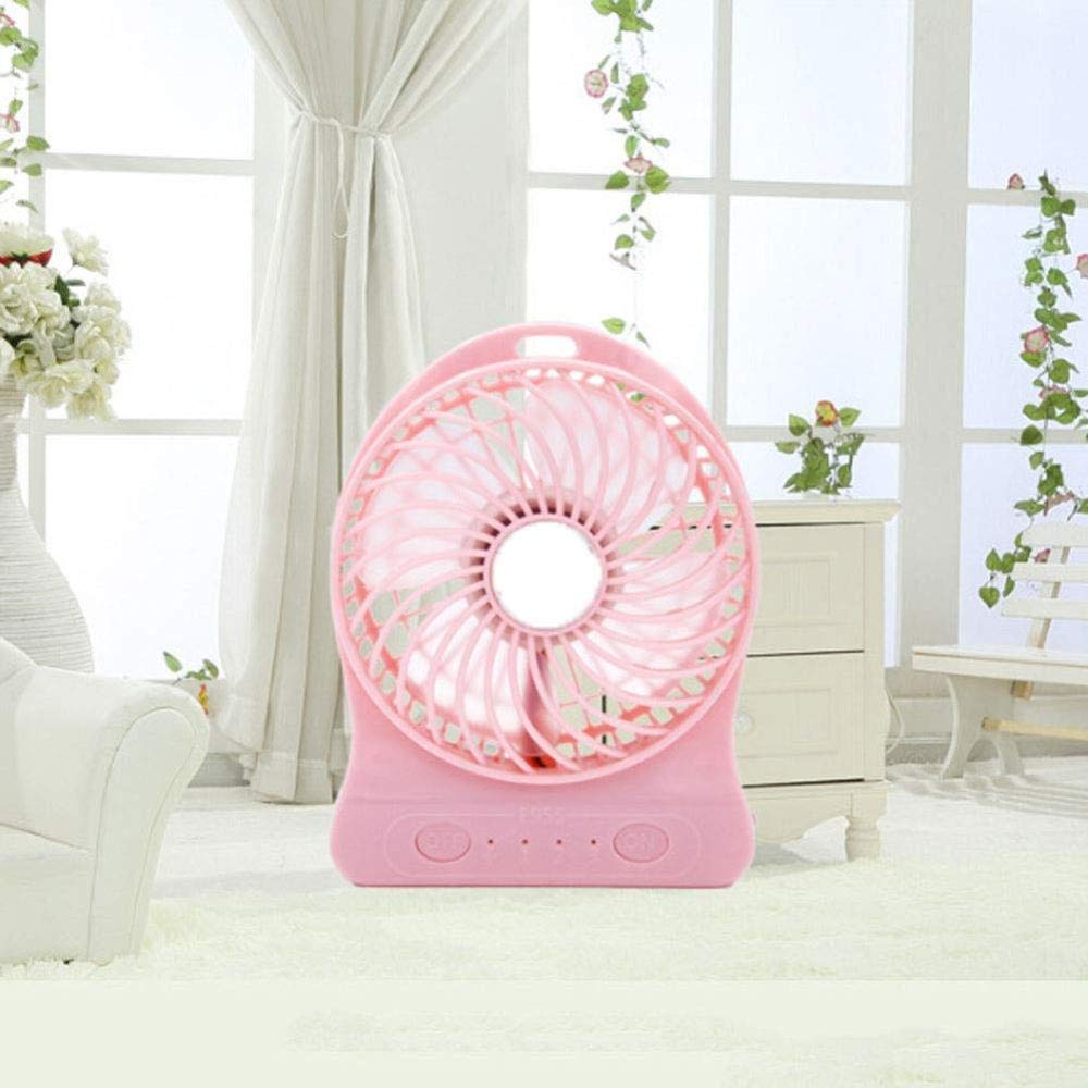 ASDAD USB Mini Fan with LED Night Light Five-Leaf Design Low Noise 3 Speeds Portable Handheld Fan for Home Office Outdoor Travel,Blue,White
