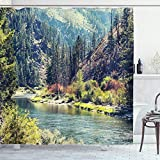 Ambesonne Lake House Decor Collection, Scenic Mountain with Pine Trees and Flowing River Colorful Foliage Daytime Sunshine Nature, Polyester Fabric Bathroom Shower Curtain Set with Hooks, Multi