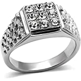 YourJewelleryBox TK361pb MENS SIGNET RING STAINLESS STEEL SIMULATED DIAMONDS 9 STONE PINKY SMART