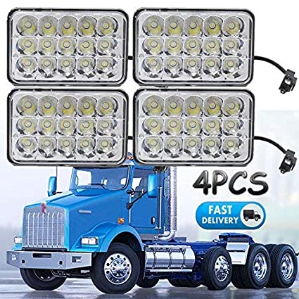 amazon com 4x6 sealed beam led headlights for kenworth t800 t400 Kenworth W900 Engine Wiring Diagram 4x6 sealed beam led headlights for kenworth t800 t400 t600 w900b w900l classic 120 132