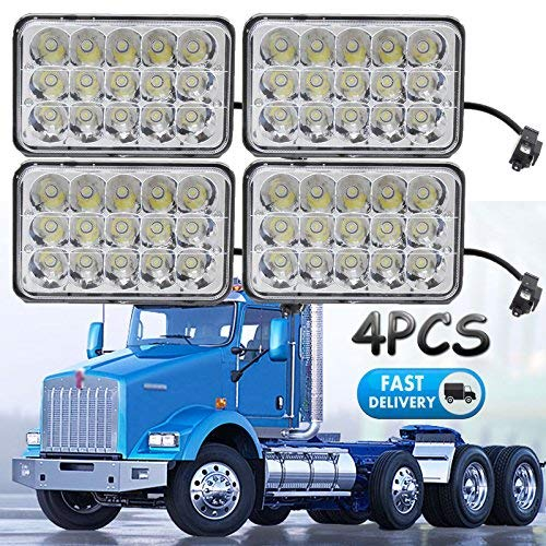 (4x6 Sealed Beam LED Headlights for Kenworth T800 T400 T600 W900B W900L Classic 120/132, Rectangular H4656 H4 Conversion High Low Dual Beam Fog Main Lights (Package of 4))